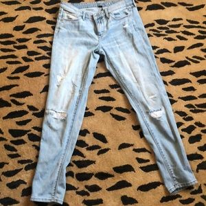 Light wash denim bottoms